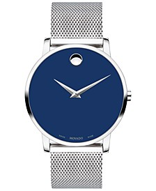 Men's Swiss Museum Stainless Steel Mesh Bracelet Watch 40mm