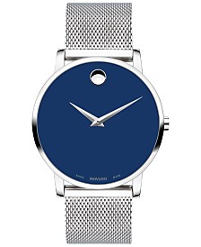 Movado Men's Swiss Museum Stainless Steel Mesh Bracelet Watch 40mm