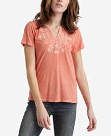 Lucky Brand Cotton Embroidered V-Neck Short Sleeve T-Shirt