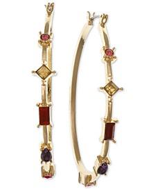 Gold-Tone Multicolor Crystal Oval Medium Hoop Earrings