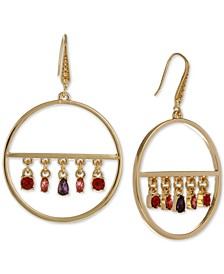 Gold-Tone Multicolor Crystal Charm Drop Hoop Earrings