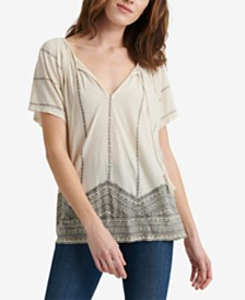 Lucky Brand Geo Print Smocked Top