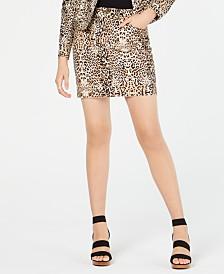 I.N.C. Leopard-Print Mini Skirt, Created for Macy's