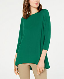 Alfani Petite Solid Swing Top, Created for Macy's