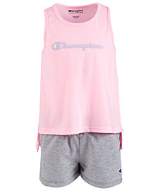 Champion Little Girls 2-Pc. Graphic-Print Tank Top & Shorts Set