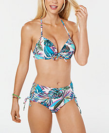 California Waves Juniors' Banana Leaf Printed Underwire Halter Bikini Top & Lace-Up High-Waist Bottoms, Created for Macy's