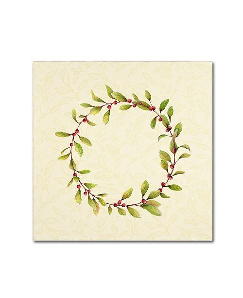 "Trademark Global Yachal Design 'Holly Wreath 100' Canvas Art - 18"" x 18"" x 2"""