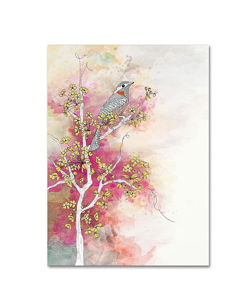 """Trademark Global The Tangled Peacock 'Summer Blossom' Canvas Art - 47"""" x 35"""" x 2"""""""