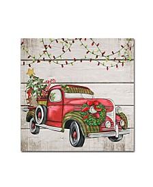 "Jean Plout 'Vintage Christmas Truck 2' Canvas Art - 14"" x 14"" x 2"""
