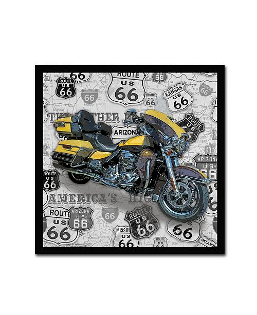 """Trademark Global Jean Plout 'Vintage Motorcycles On Route 66 4' Canvas Art - 35"""" x 35"""" x 2"""""""