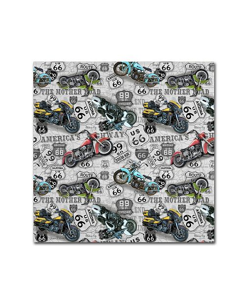 """Trademark Global Jean Plout 'Vintage Motorcycles On Route 66 12' Canvas Art - 14"""" x 14"""" x 2"""""""