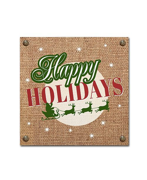 "Trademark Global Jean Plout 'Christmas On Burlap 8' Canvas Art - 14"" x 14"" x 2"""