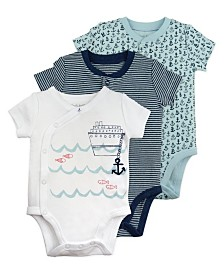 Mac and Moon 3-Pack Short Sleeve Bodysuits in Nautical Prints