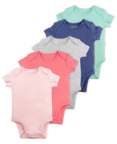 Mac & Moon Mac and Moon 5-Pack Short Sleeve Bodysuits in Pink and Blue Tones