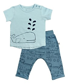 Mac and Moon 2-Piece Whale Print Outfit with Short Sleeve Tee and Pants