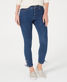 Charter Club Petite Lace-Up Tummy-Control Jeans, Created for Macy's