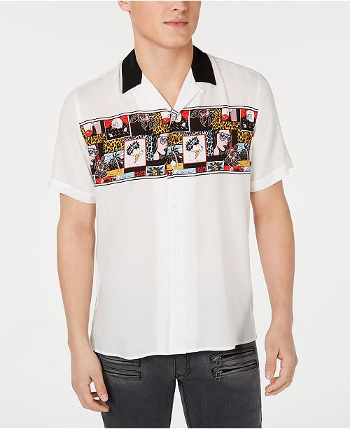 INC International Concepts I.N.C. Men's Blitz Comic Camp Shirt, Created for Macy's