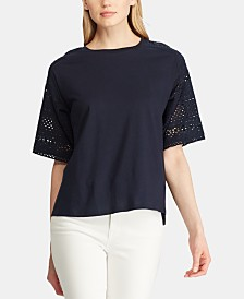 Lauren Ralph Lauren Petite Dropped-Shoulder Top