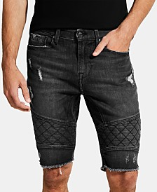 "GUESS Men's Slim-Fit Quilted Moto 12"" Shorts"
