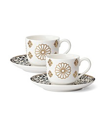Global Tapestry Sapphire  Gold Espresso Set/2 Cup & Saucer