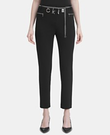 Calvin Klein Straight-Leg Pants with Chain Belt