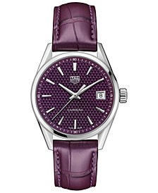 Women's Swiss Carrera Plum Alligator Leather Strap Watch 36mm
