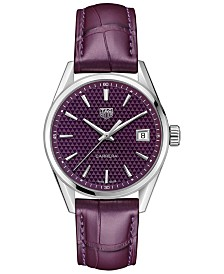 TAG Heuer Women's Swiss Carrera Plum Alligator Leather Strap Watch 36mm