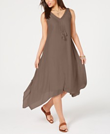Style & Co Asymmetrical-Hem Tassel Dress, Created for Macy's