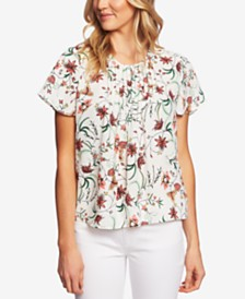 CeCe Pleated Printed Top