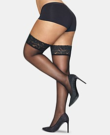 Plus Size Lace-Band Thigh Highs