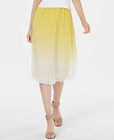 Bar III Pleated Ombré Midi Skirt, Created for Macy's