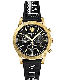 Men's Swiss Chronograph Sport Tech Black Silicone Strap Watch 40mm