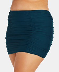 Raisins Curve Trendy Plus Size Juniors' High-Waist Tummy-Thinner Swim Skirt