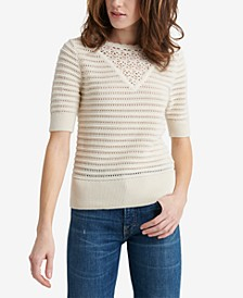 Crochet Elbow-Sleeve Cotton Sweater