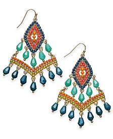I.N.C. Gold-Tone Beaded Kite Drop Earrings, Created for Macy's