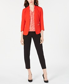 Anne Klein Zip Crepe Blazer, Tie-Neck Blouse & Bi-Stretch Slim-Leg Pants