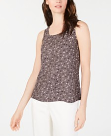 Anne Klein Sleeveless Polka Dot Blouse