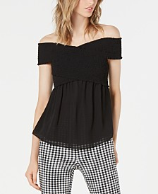 Bar III Smocked Peplum Top, Created for Macy's