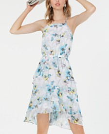 Bar III Printed Ruffled High-Low Fit & Flare Dress, Created for Macy's
