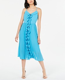 Bar III Ruffled Pleated-Skirt Fit & Flare Dress, Created for Macy's