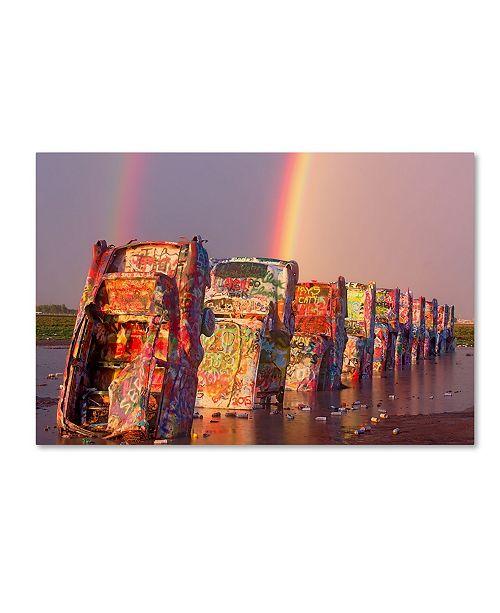 "Trademark Global Mike Jones Photo 'Cadillac Ranch Rainbow' Canvas Art - 19"" x 12"" x 2"""