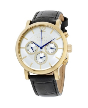 Image of Joseph Abboud Men's Analog Black and Gold Leather Strap Watch 9.75mm