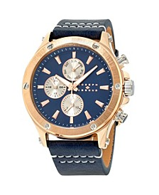 Men's Analog Rose Gold Case Leather Watch