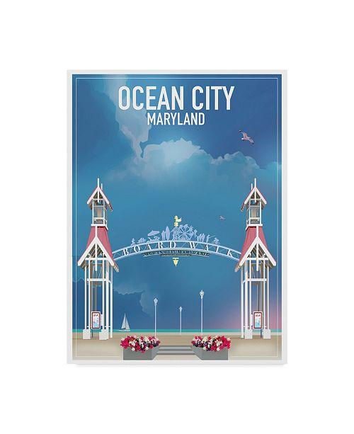 "Trademark Innovations Old Red Truck 'Ocean City Maryland' Canvas Art - 19"" x 14"" x 2"""