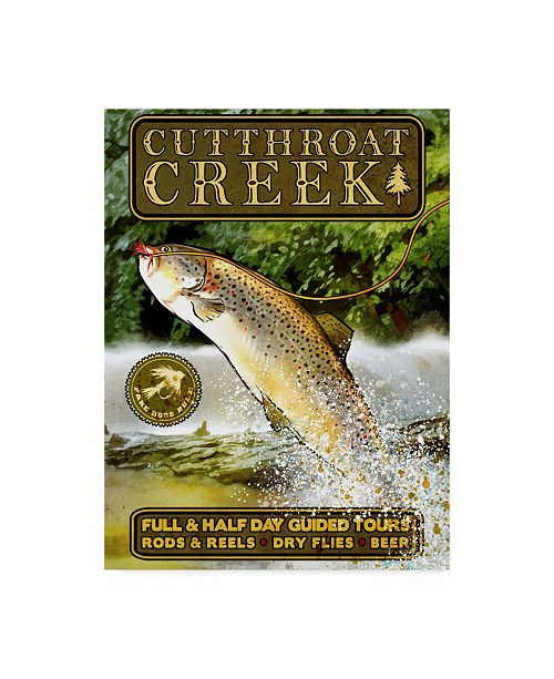 """Trademark Innovations Old Red Truck 'Cutthroat Creek Brown Trout' Canvas Art - 24"""" x 18"""" x 2"""""""