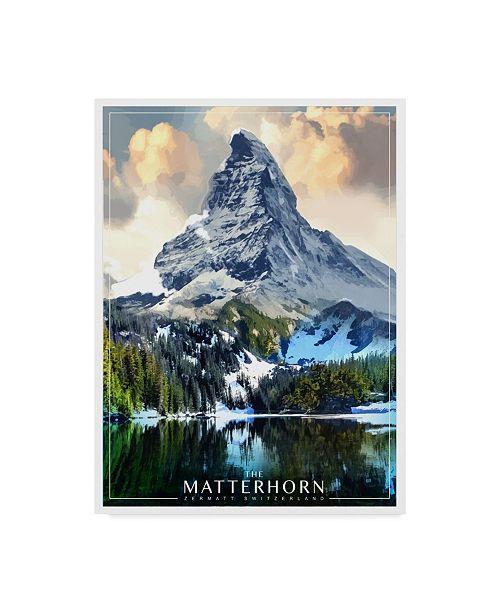 """Trademark Innovations Old Red Truck 'The Matterhorn' Canvas Art - 47"""" x 35"""" x 2"""""""