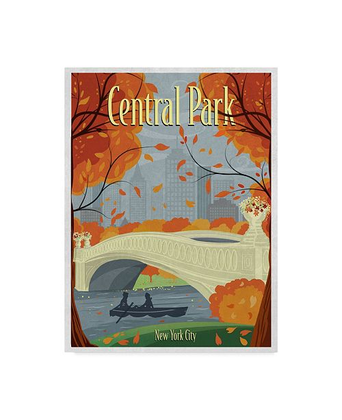 "Trademark Innovations Old Red Truck 'Central Park' Canvas Art - 47"" x 35"" x 2"""