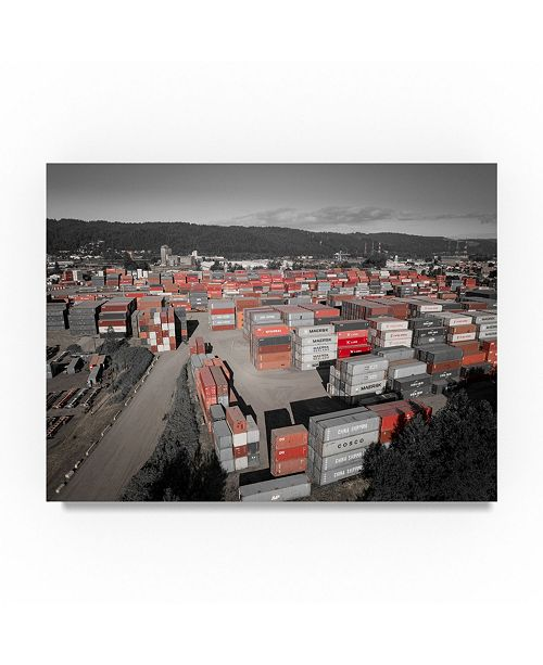 "Trademark Global Moises Levy 'Red Shipping Crates' Canvas Art - 47"" x 35"" x 2"""