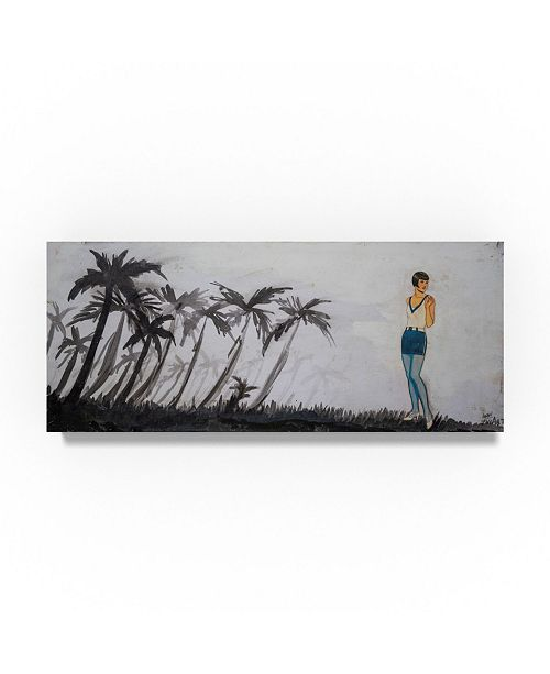 "Trademark Global Zwart 'Palm Trees And Model' Canvas Art - 32"" x 14"" x 2"""