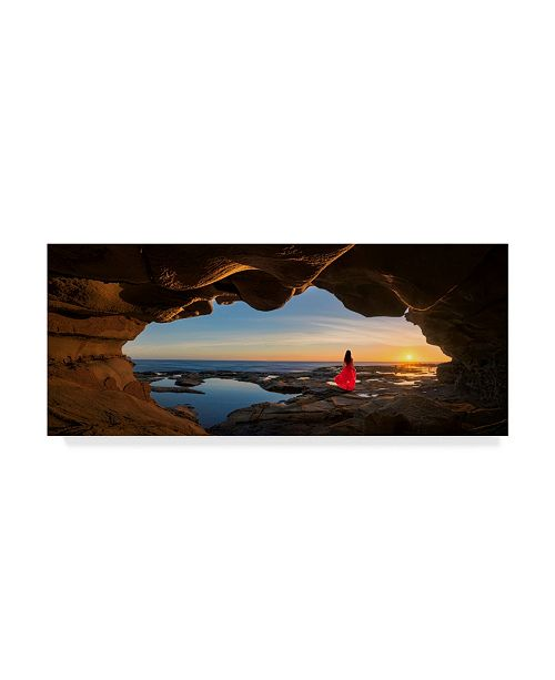 "Trademark Global Jingshu Zhu 'Cave Woman In Red' Canvas Art - 24"" x 10"" x 2"""
